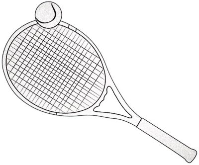 Tennisracket lutande åt vänster